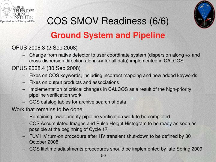 COS SMOV Readiness (6/6)