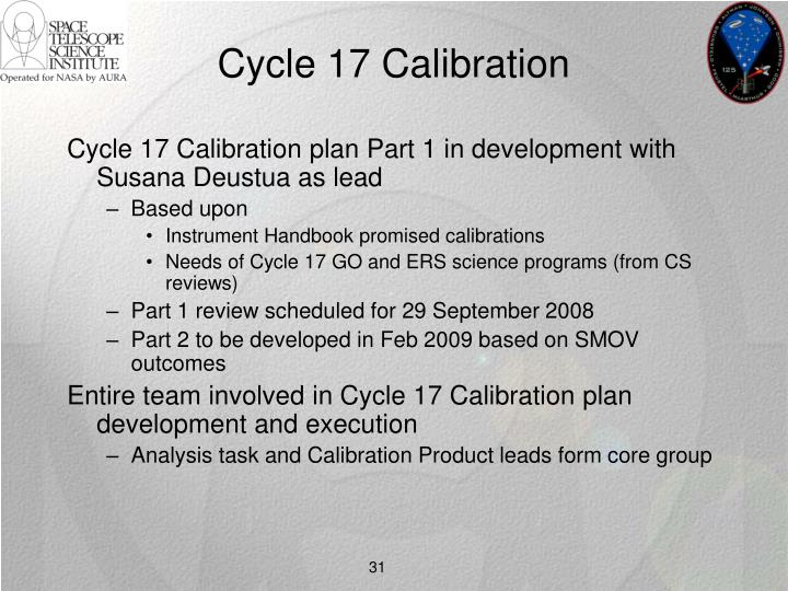 Cycle 17 Calibration