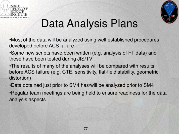 Data Analysis Plans