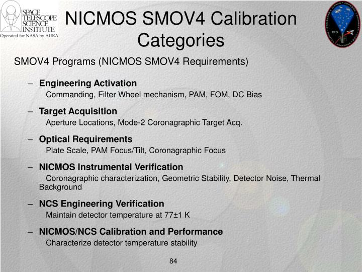 NICMOS SMOV4 Calibration Categories