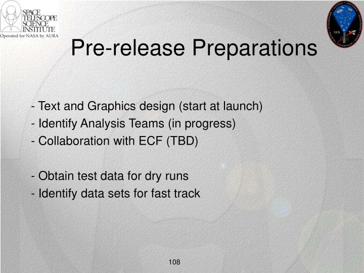 Pre-release Preparations