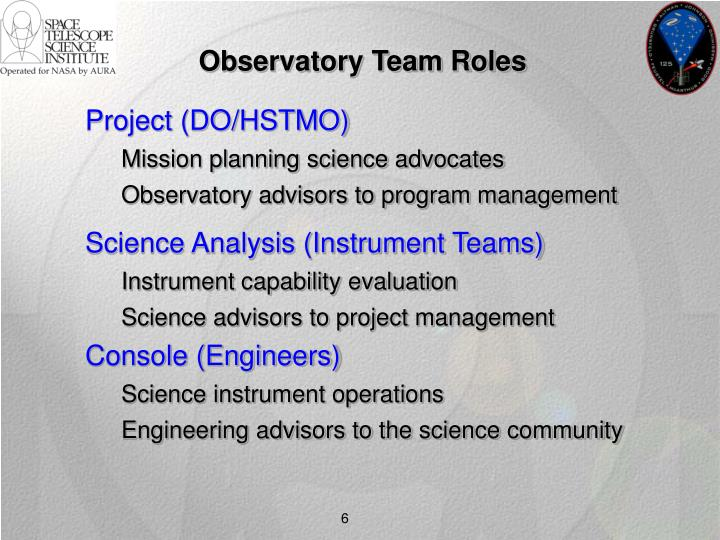 Observatory Team Roles