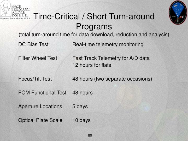 Time-Critical / Short Turn-around Programs