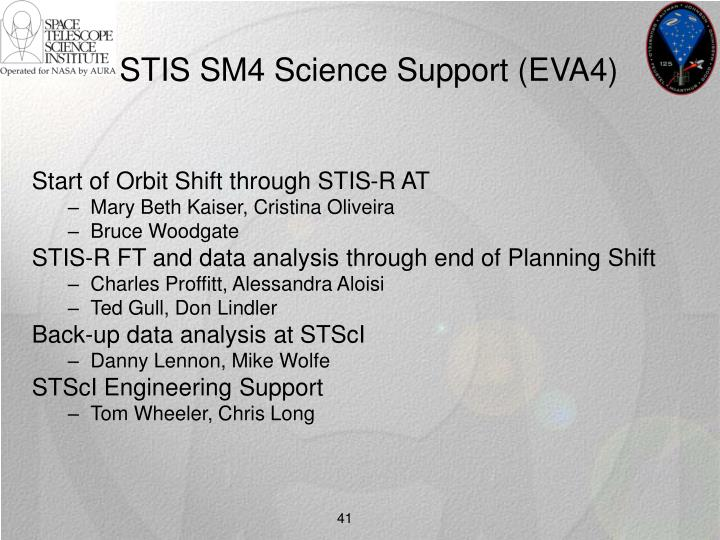 STIS SM4 Science Support (EVA4)