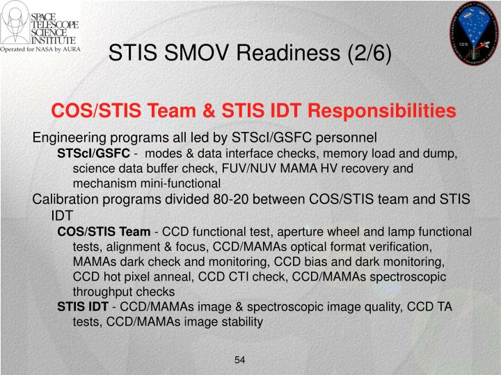 STIS SMOV Readiness (2/6)