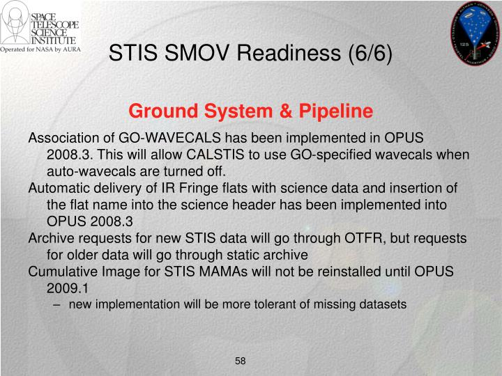 STIS SMOV Readiness (6/6)