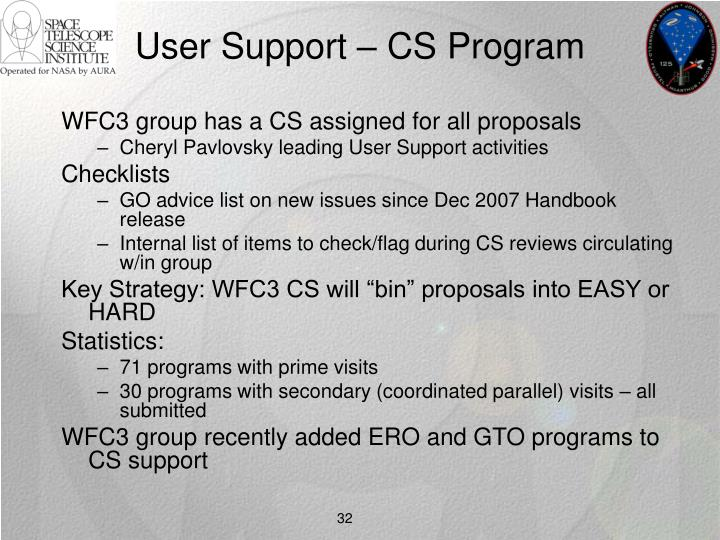 User Support – CS Program