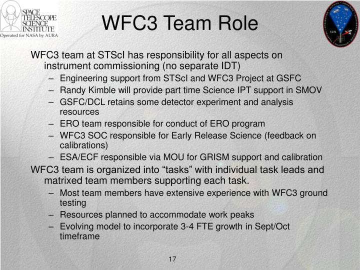 WFC3 Team Role
