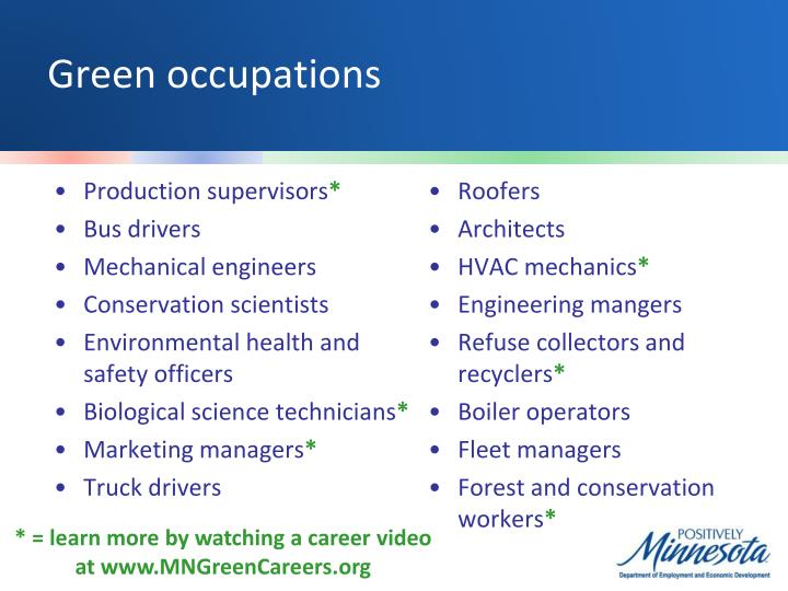 Green occupations