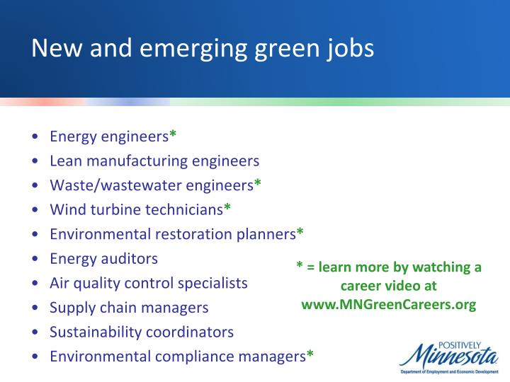 New and emerging green jobs