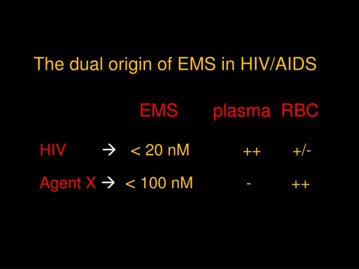 The dual origin of EMS in HIV/AIDS