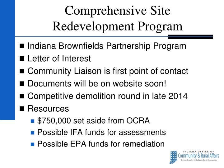 Comprehensive Site Redevelopment Program