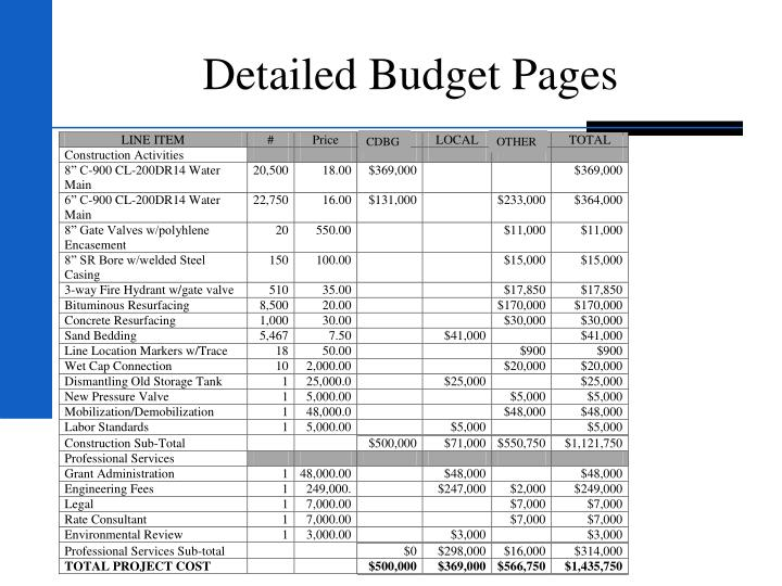 Detailed Budget Pages