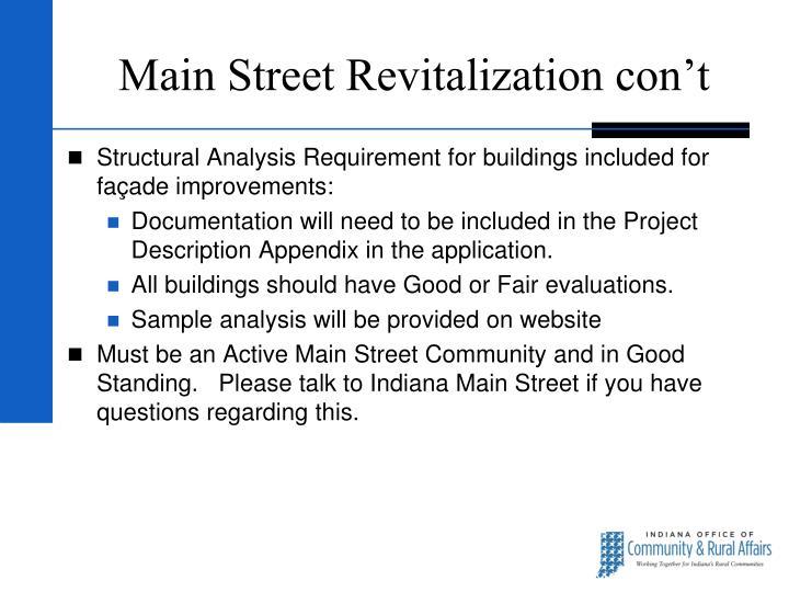 Main Street Revitalization con't