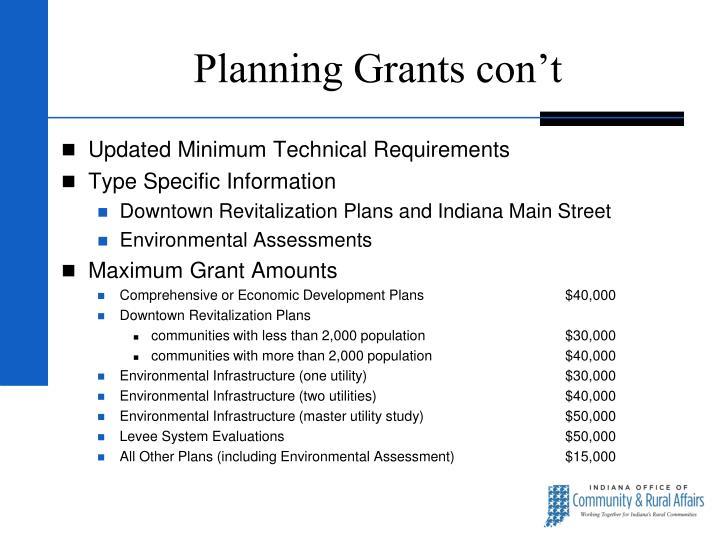 Planning Grants con't