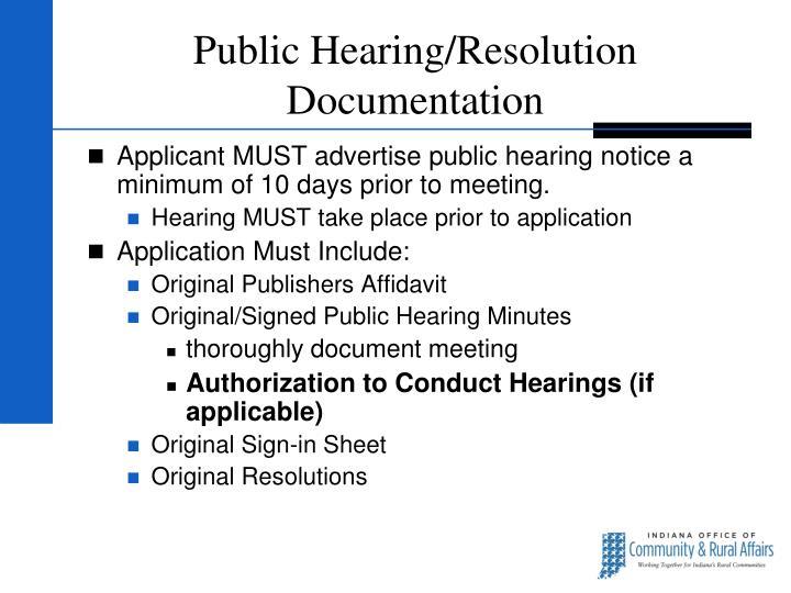 Public Hearing/Resolution Documentation