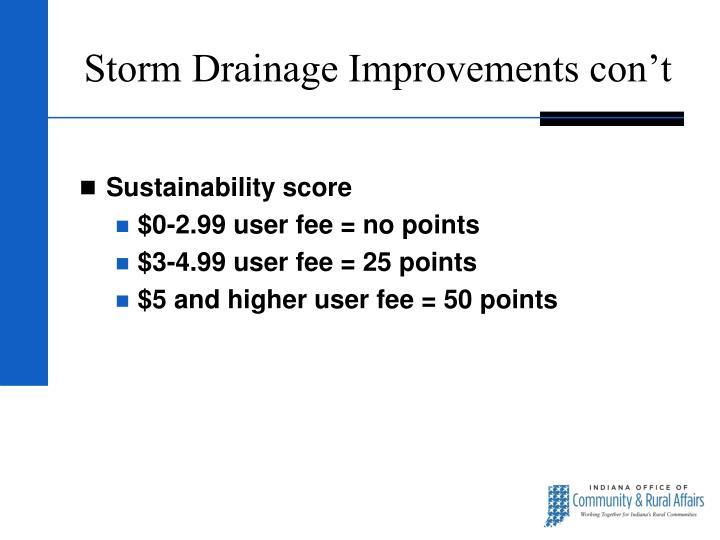 Storm Drainage Improvements con't