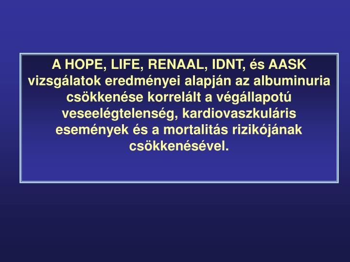 A HOPE, LIFE, RENAAL, IDNT, és AASK vizsgálatok eredményei alapján az albuminuria csökkenése korrelált a végállapotú veseelégtelenség, kardiovaszkuláris események és a mortalitás rizikójának csökkenésével.