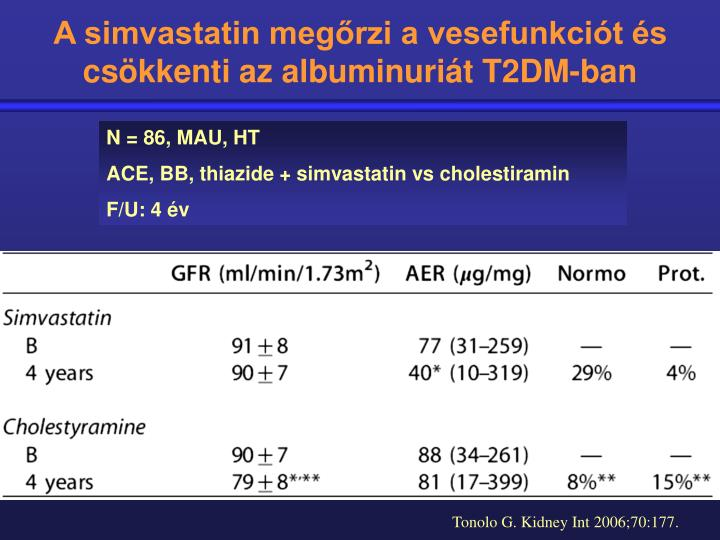 A simvastatin megőrzi a vesefunkciót és csökkenti az albuminuriát T2DM-ban