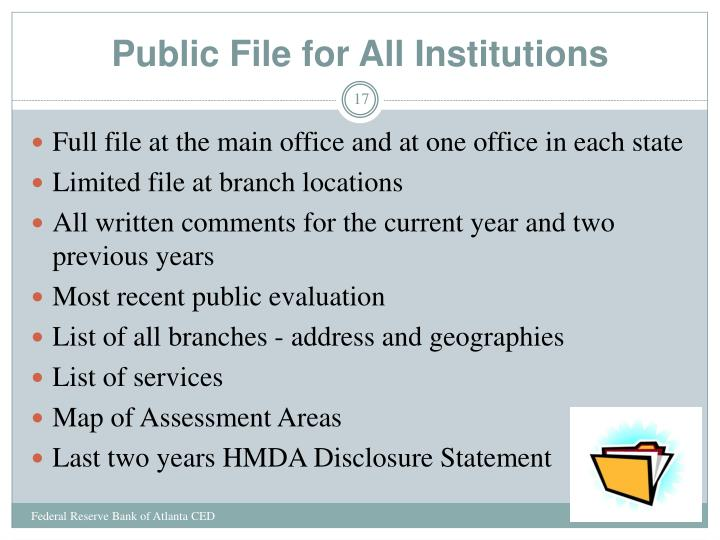 Public File for All Institutions