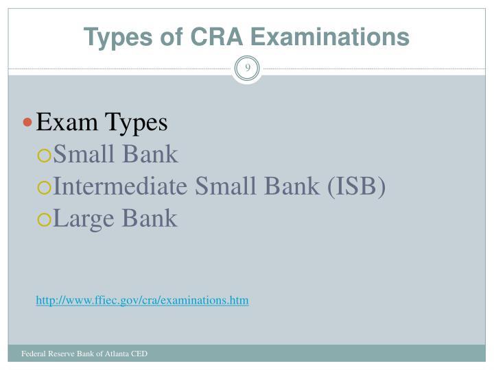 Types of CRA Examinations