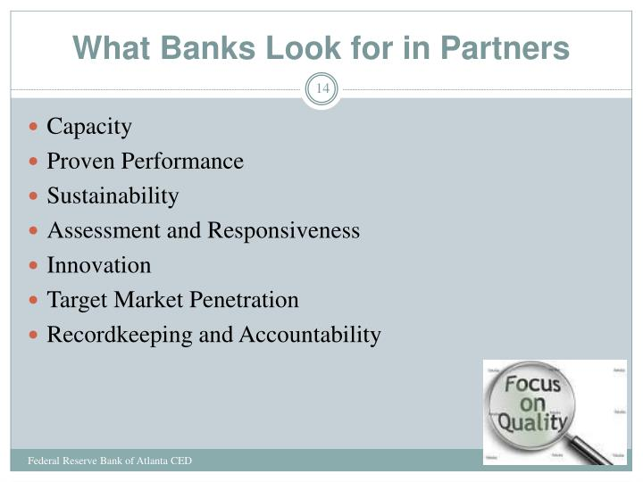 What Banks Look for in Partners