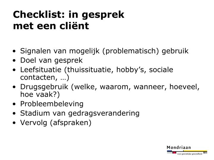 Checklist: in gesprek
