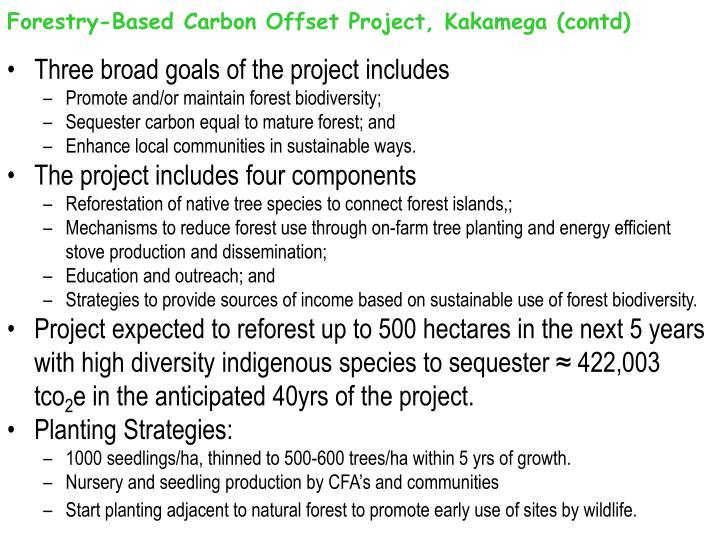 Forestry-Based Carbon Offset Project, Kakamega (contd)