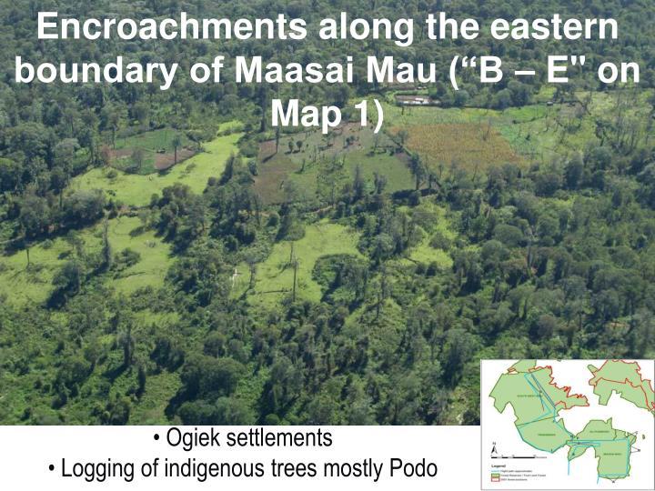"Encroachments along the eastern boundary of Maasai Mau (""B – E"" on Map 1)"