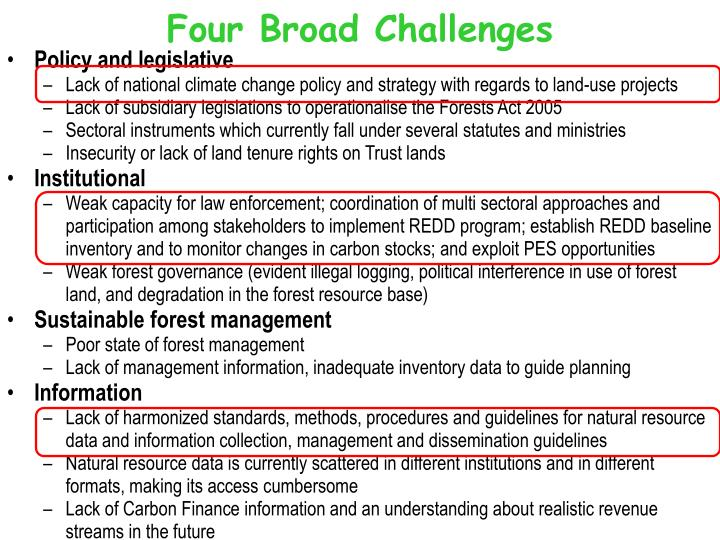 Four Broad Challenges