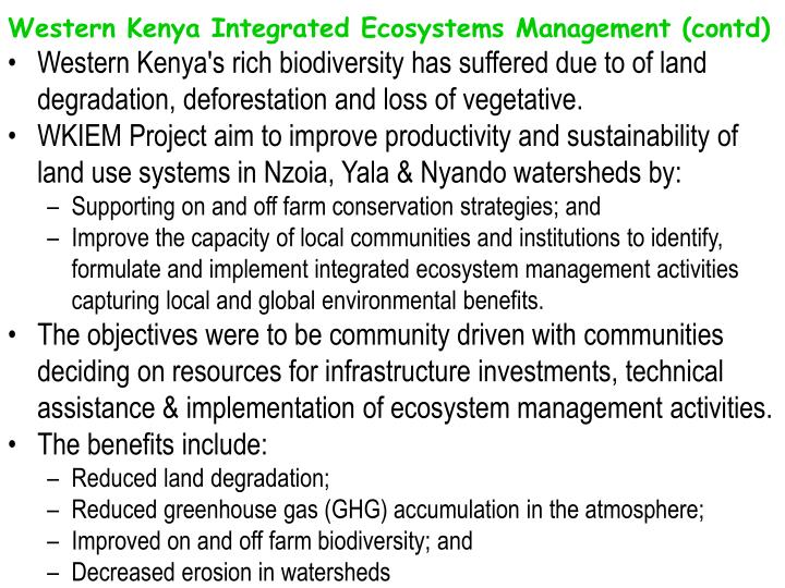 Western Kenya Integrated Ecosystems Management (contd)