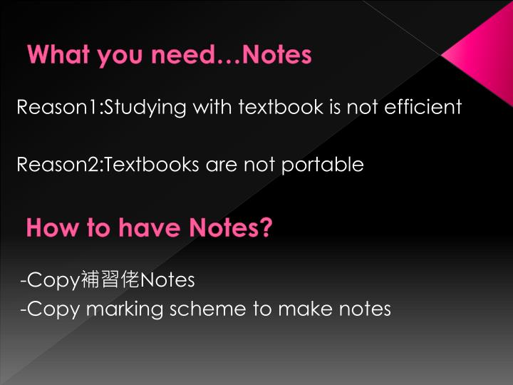 What you need…Notes