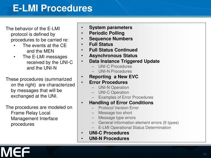 E-LMI Procedures