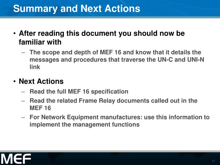 Summary and Next Actions