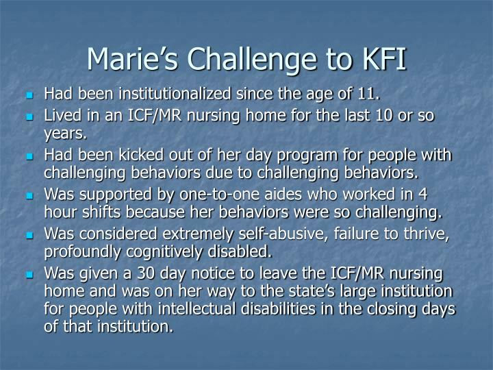 Marie's Challenge to KFI