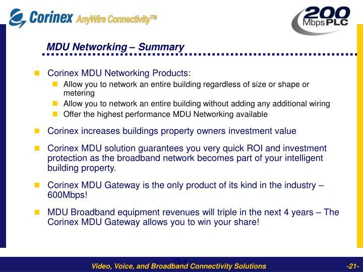 MDU Networking – Summary