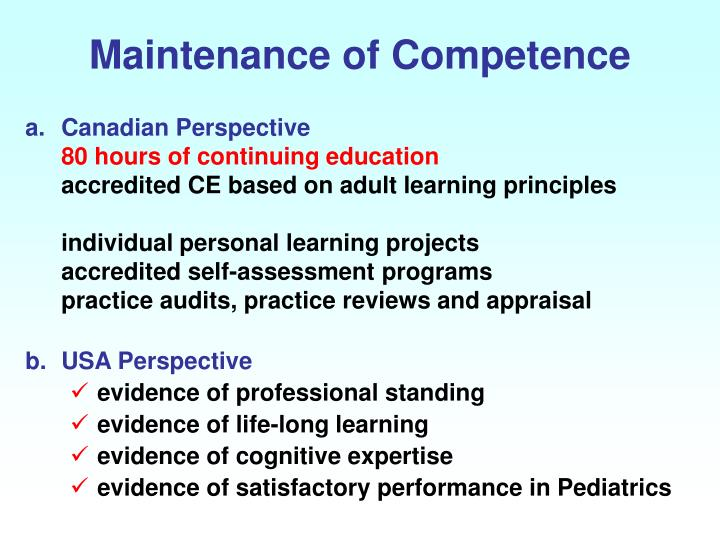 Maintenance of Competence
