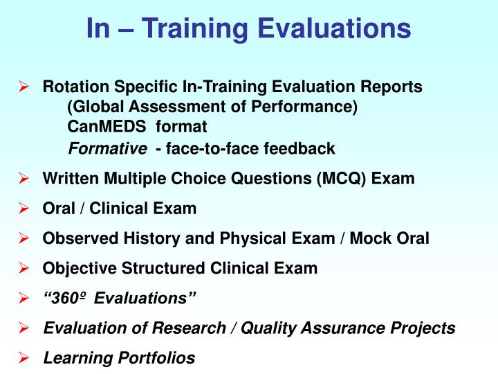 In – Training Evaluations