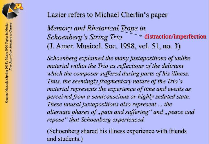 Lazier refers to Michael Cherlin's paper