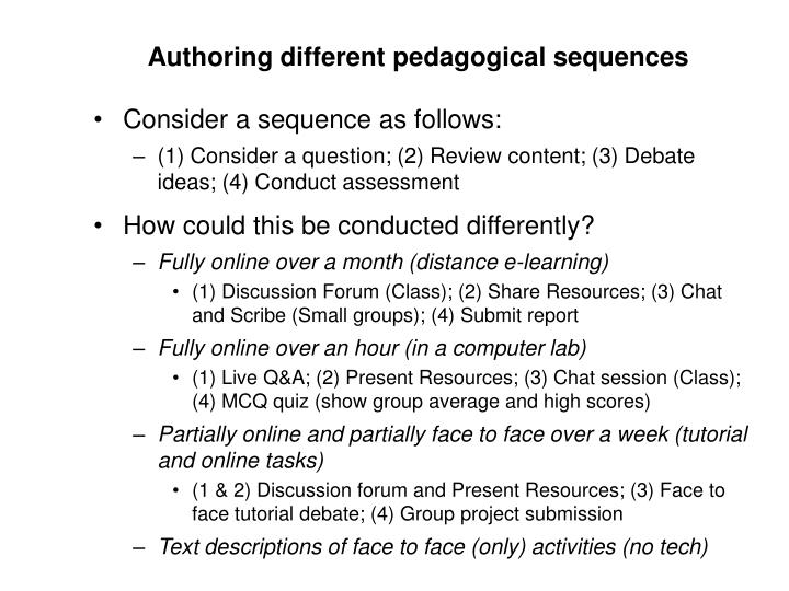 Authoring different pedagogical sequences