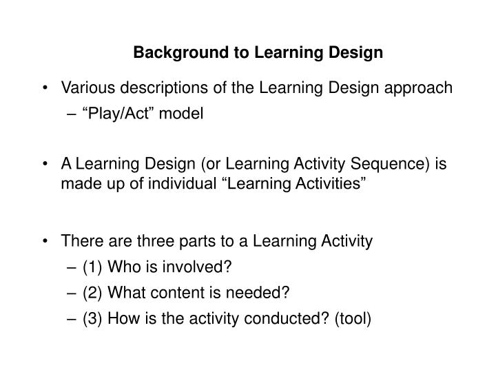 Background to learning design