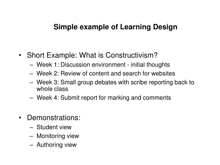 Simple example of Learning Design