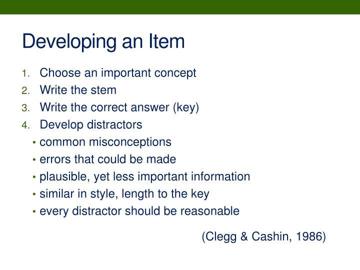 Developing an Item