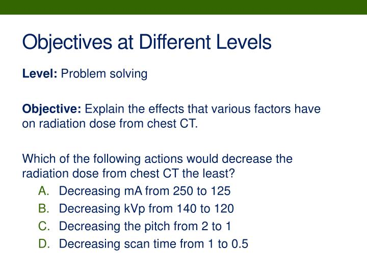 Objectives at Different Levels