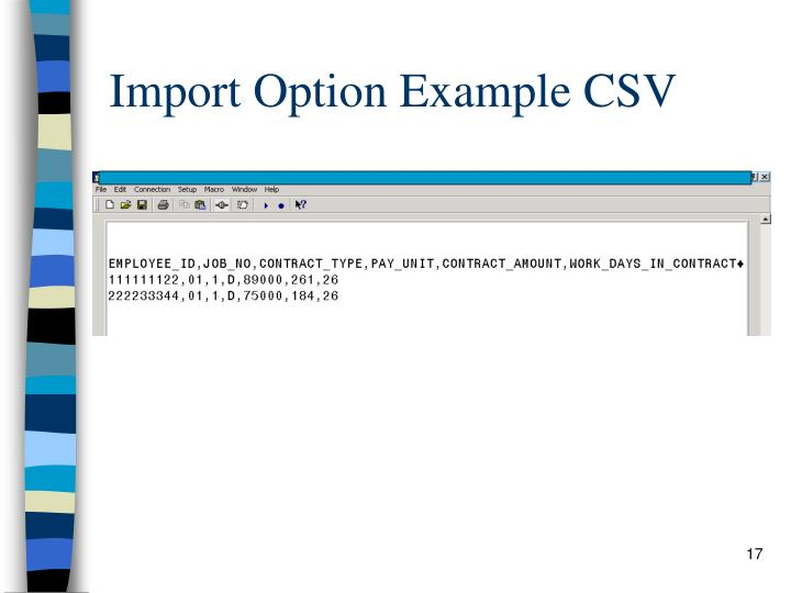 Import Option Example CSV