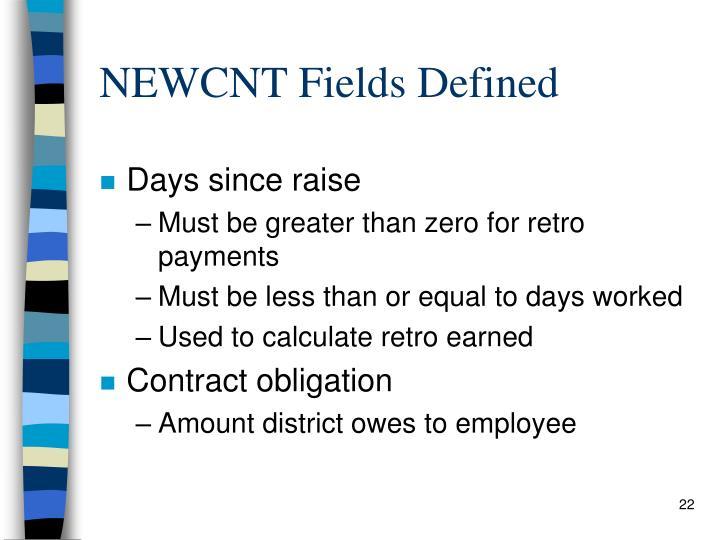 NEWCNT Fields Defined