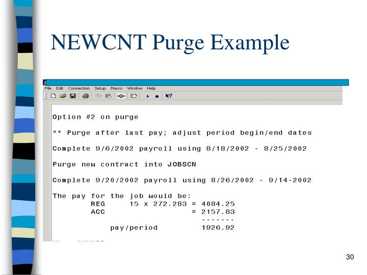 NEWCNT Purge Example