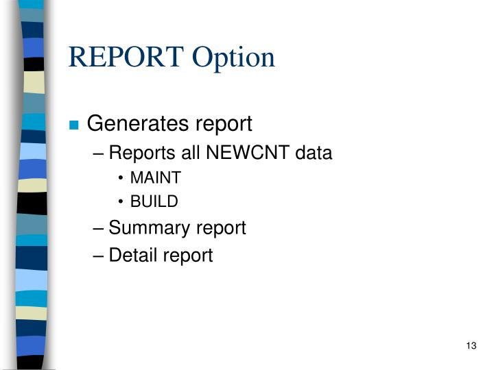 REPORT Option