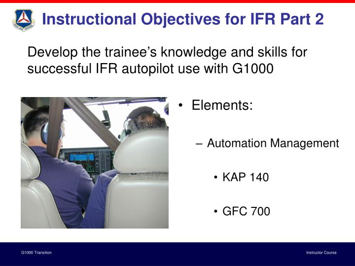 Instructional Objectives for IFR Part 2