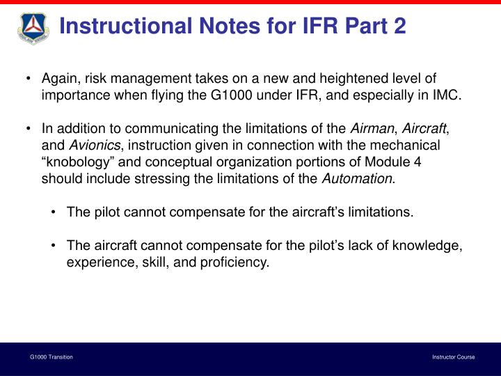 Instructional Notes for IFR Part 2